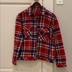 Red and blue checkered jacket brand new